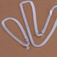 S084 Wholesale, free shipping 925 silver jewelry set, fashion jewelry set 6Mm Flat Snake Bone Two-Piece Jewelry Set