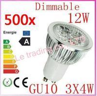 500pcs Dimmable GU10 4X3W 12W 4-CREE LEDS Led Lamp Spotlight 85V-265V Led Light downlight High Power free shipping
