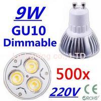 500pcs Dimmable GU10 3X3W 3W 3-CREE LEDS Led Lamp Spotlight 85V-265V Led Light downlight High Power free shipping