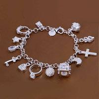 H144 Free Shipping Wholesale 925 silver bracelet, 925 silver fashion jewelry 13 Pendants Bracelet