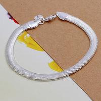 H164 Free Shipping Wholesale 925 silver bracelet, 925 silver fashion jewelry Flat Snake Bone Bracelet
