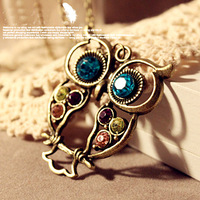 ZP Jewelry-Fashion Vintage Hollow Cute Owl Necklace Sweater Chain NSC008(Order>$10 Free Shipping)