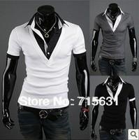 2014 Men short-sleeve T-shirt fashion slim v-neck T-shirt male personality faux two piece t shirt