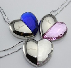 Wholesale necklace jewellery 8GB 16GB 32GB USB Heart Crystal Flash Memory Drive Stick ispread free ship