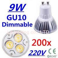 200pcs Dimmable GU10 3X3W 3W 3-CREE LEDS Led Lamp Spotlight 85V-265V Led Light downlight High Power free shipping