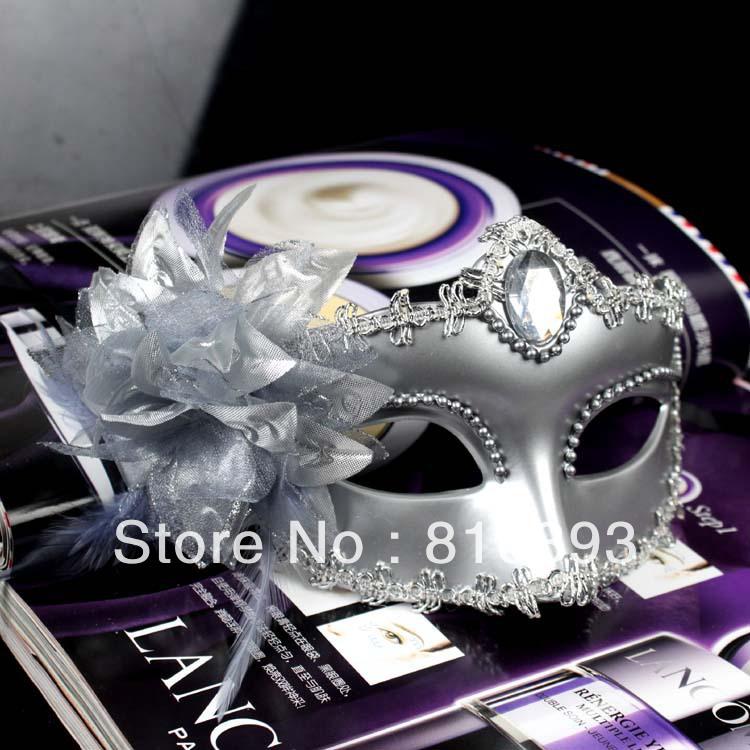 VENDA QUENTE Atacado grátis Máscaras Flor Partido Veneziano Cosplay Masquerade Halloween Prata (4 cores)(China (Mainland))