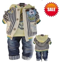 free shipping+retail Baby children boys 3pcs set suits striped hoody coat+shirt+jeans pants baby clothing