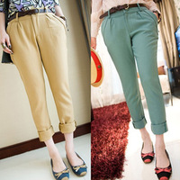 stock promotion mushroom Spring Automn  plus size pure color harem pants for office lady