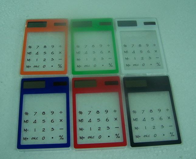Ultra-thin transparent calculator touch screen transparent calculator promotional(China (Mainland))