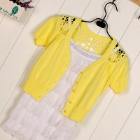 All-match cutout laciness 2013 women's knitted shawl new arrival summer short-sleeve sweater cardigan