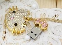 Wholesale Hot Cheap  Jewelry Hello Kitty+Chain 4GB 8GB 16GB 32GB USB 2.0 Flash Memory Stick Drive Thumb/Car/Pen Free ship