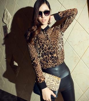 2013 Fashion Leopard Printed Chiffon Shirts For Women Sexy Long-sleeve Blouses Leasure See-through Tops Tees Drop ShippingTS-034