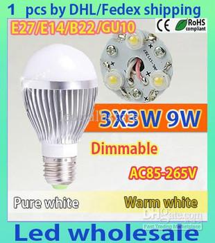 Retail Bubble Ball Bulb 3LED 1pcs/lot 9W E27 GU10 High power Ball steep light LED Light Bulbs Lamp Lighting tube
