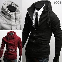 Fashion stand collar zipper unique thickening fleece sweatshirt