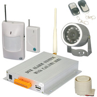 Home Security GSM Wireless Burglar Alarm System SMS/MMS/DVR/IR Camera free shipping