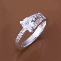 R164 Size 7,8 925 silver ring, 925 silver fashion jewelry, inset stone dula-line Ring