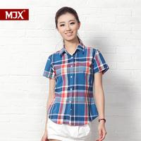 Mjx 100% women's all-match cotton slim shirt female lovers women's short-sleeve plaid shirt