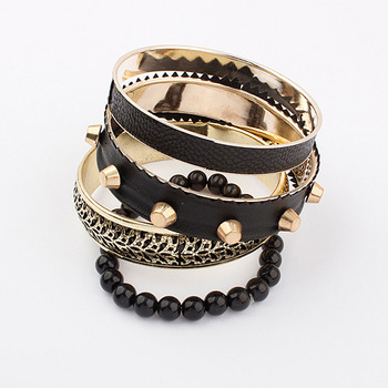 (mix order $10) Star women's multi-layer hand ring fashion vintage punk fashion Women black bracelet