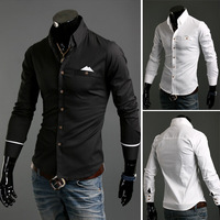 Free Shipping 2013 New Men's Shirts,Dress shirts,Bump a color characteristic leisure shirt pocket Color:Black,White Size:M-XXL