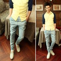 2012 autumn male trousers les t ochric slim denim trousers