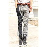 2014 slim big zipper patchwork block color harem pants male jeans Men's Clothing