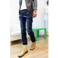 2012 fashion all-match fashion applique color block zipper decoration slim male small straight slim jeans pants trousers