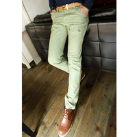 2012 candy green slim jeans male small straight pants