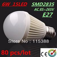 80pcs/lot Bubble Ball Bulb SMD2835 15LED AC85-265V 6W E27 High power Energy Saving Ball steep light LED Light Bulbs Lamp