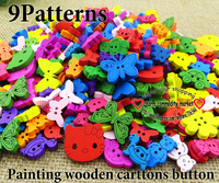 30%OFF Promotion 200pcs 9pattern mixed painting cartoon sewing buttons bulk wooden clothes button craft scrapbooking WCB-077