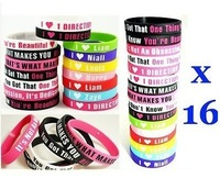 16 pcs One 1 Direction Silicone Wristband Bracelet I Love 1 Direction FANS Rubber