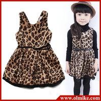 girls leopard dress with belt for fall season princess dress sleeveless children clothing sundress 3A-8A free shipping CD064
