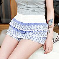 Z0662 2013 summer lace flower shorts high waist layered dress pants female