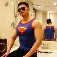 Fashion men painting male super man logo o-neck low-cut vest xy903