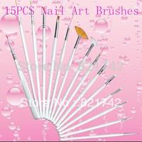 Free Shipping Beauty Care Professional 15pcs/set  White  Nail Art Brush Set Design Drawing Nail Brushes
