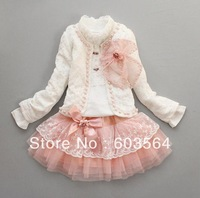 Retail- baby girl sets three-piece dress(top+t shirt+dress) child clothes set,infant tee shirt+coat+dress