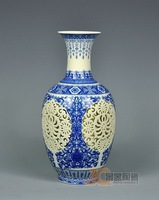 Blue and white porcelain cutout porcelain ivory ceramic vase crafts decoration