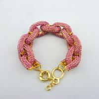 Free shipping Pink Inspired Pave Link Bracelet,crystal chain link bracelet