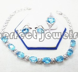 Free shipping Jewelry sets Natural real blue topaz S925 sterling silver 1pc stud earring,1pc ring 1pc chain bracelet(China (Mainland))
