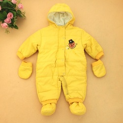 6 - 12 months old down baby cloth romper with a hood belt wrapping sets foot thin(China (Mainland))