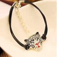 Free shipping 1 lot/10pcs Punk style jewelry PU woven bracelet bangles leopard/owl/skeleton jewlery bracelet alloy and PU