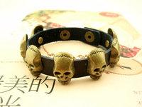 Free shipping 1 lot/10pcs Punk style jewelry Europe-United States PUNK Style rock hip hop PU bracelet