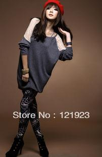 New lace montage batwing sleeve women fashion dress long T-shirt QC0015(China (Mainland))