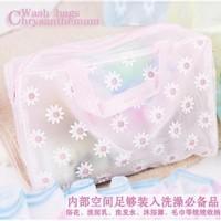 small chrysanthemum cosmetics storage bag sorting bags storage bags plastic transparent wash bag