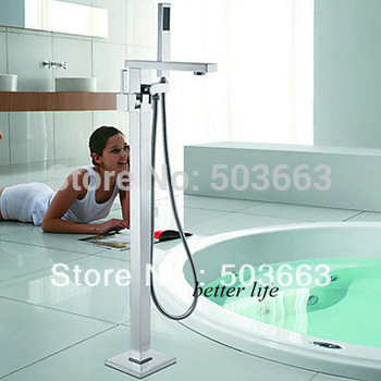Luxury Single Lever Floor Mounted Bathtub With Handheld Shower Faucet X-016