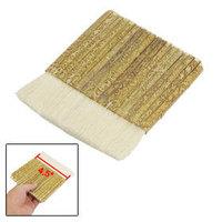 "5 Pcs 4.5"" Wide Flat Khaki Bamboo Handle White Faux Wool Wall Painting Paint Brush Free shipping"