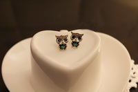 free shipping 20pairs vintage lovely owl black golden earring earing earrings jewerly nayoo