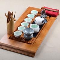 Set ceramic kung fu tea longquan celadon black stone tea tray tea sea combination