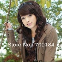 New Fashion Long Dark Brown Wavy Women's Lady's Front lace Wig Synthetic Hair Full Wig/wigs free shipping+drop shipping