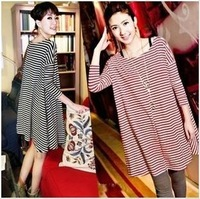 Hot sale free shipping Maternity clothing 2013 women's summer navy stripe loose plus size o-neck spring one-piece dress