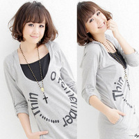 Free shipping Maternity clothing 2013 feeding top letter with a hood nursing maternity outerwear maternity sweatshirt
